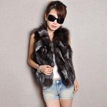 New 2016 Fashion Women Pieces Nature Silver Fox Fur Vest Real Short Style Fox Fur Waistcoat Cute Spell Fox Fur Gilet