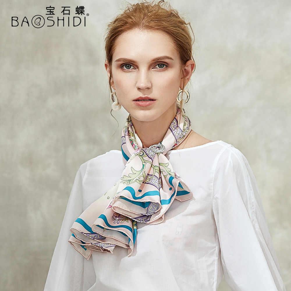BAOSHIDI 2018 di Autunno di trasporto puro Raso di Seta Sciarpe Quadrate, di Lusso di Marca originale di disegno delle donne di modo sciarpa, elegante regalo della signora scialle