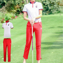 Pgm, женские штаны для гольфа, костюм, женская дышащая одежда для гольфа, летняя рубашка с коротким рукавом, высокоэластичные Тонкие штаны D0737