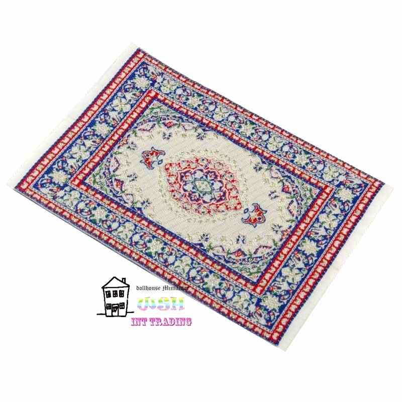 "1:12 Dollhouse miniatura 6,3 ""alfombra de pavo rojo azul patrón de flores muñecas accesorios muñecas adorno envío gratis"