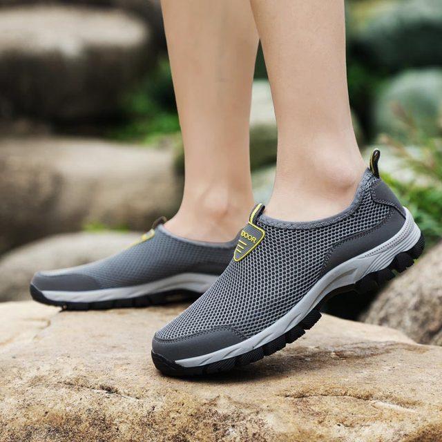 حجم كبير الانزلاق على أحذية رياضية الرجال احذية الجري الرجال أحذية رياضية الذكور حذاء رياضي تنس رمادي Spor Ayakkabi Erkek المدربين رياضة B-282 2