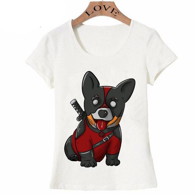 d19627dfe360f Funny Deadpool corgi cartoon design T-Shirt women's fashion summer Tops cute  dog printing female Tees cute girl anime t-shirt