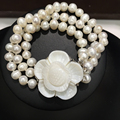 Triangle Freshwater Pearl Bracelet Flower Clasp Real Pearls Brace let 7-8MM 18CM Multilayer Free Shipping