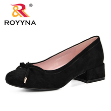 ROYYNA 2019  High Heels Shoes Women Pumps Flock Single Woman Dress Shoes Thick Heels Round Toe Square Heels Female Pumps Comfy 2017 brand new european vintage pumps shoes for woman ds162 flock square toe straps sexy female ladies pumps shoes