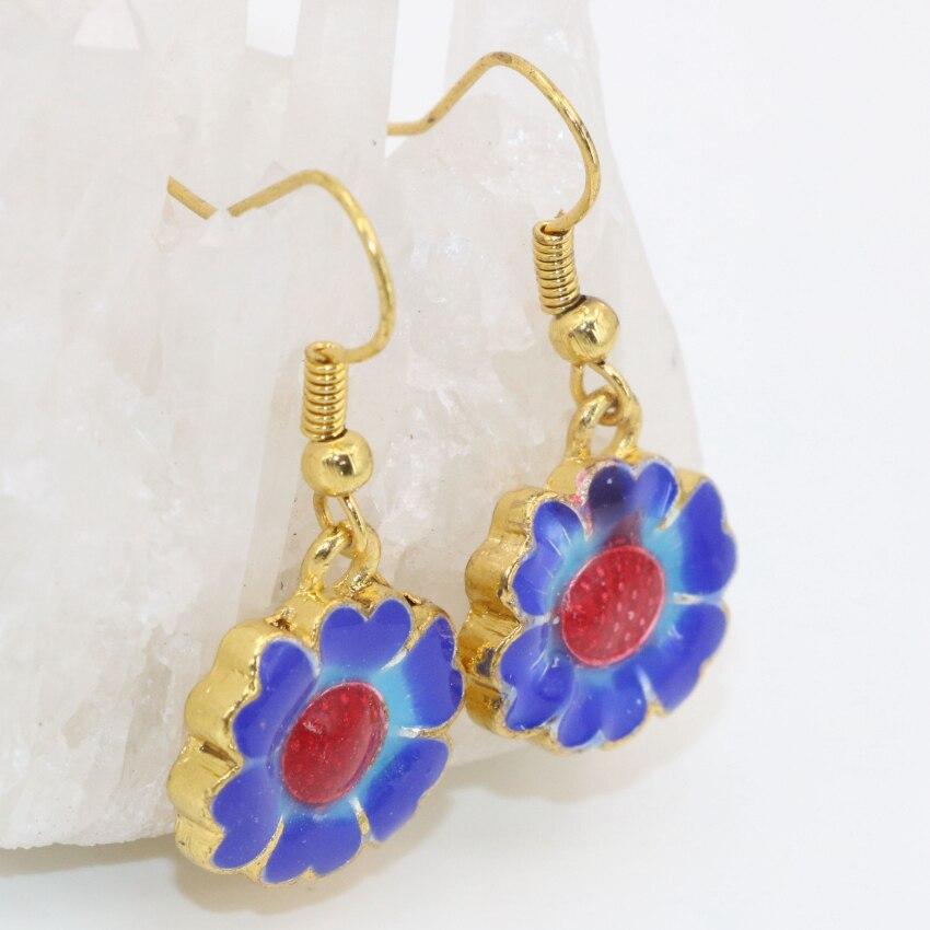 Enamel Cloisonne Dangle Earings For Women 14 16mm New Fashion Gold