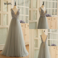 Pearl Sequins V Neck Chic Evening Gowns Puffy Ruched Side Slit Sleeveless Sexy Prom Dresses 2017 Floor Length Long Evening Dress