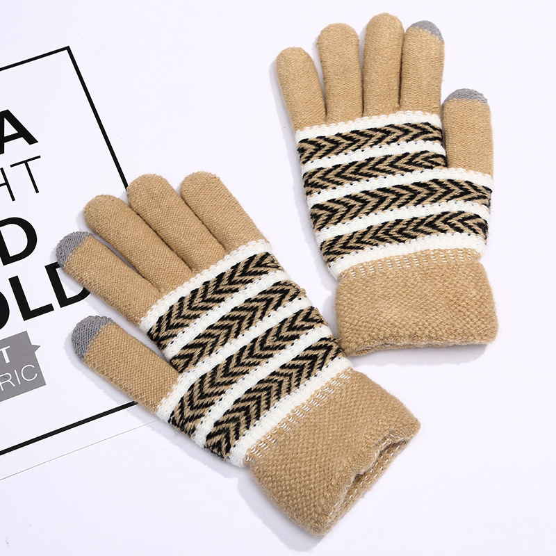 2018 Manufacturers Wholesale Winter Outdoor Stripes Fashion Warm Touch Screen Gloves Gift Clothing Accessories Finger Custom