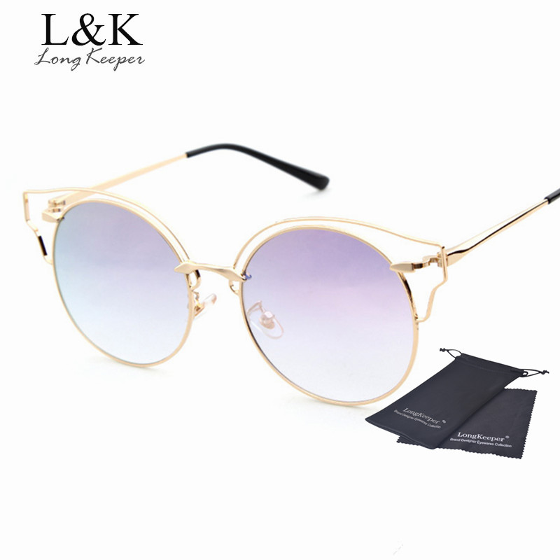 Longo keeeper 2017 new cat eye óculos de sol óculos redondos óculos de sol  lente gradiente de cor sexy mulheres liga de metal eyewares gafas do vintage 05053892df