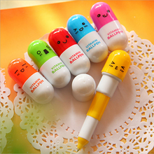 100pcs/lot New School Stationery Cute Capsule Ballpoint Pen Retractable Pill Pens For Writing High Quality Promotional Pens(China)