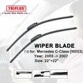 """Wiper Blade for Mercedes Benz C Class W203 (2003-2007) 1 set 22""""+22"""", Flat Aero Beam Windscreen Wiper Frameless Soft Blades"""