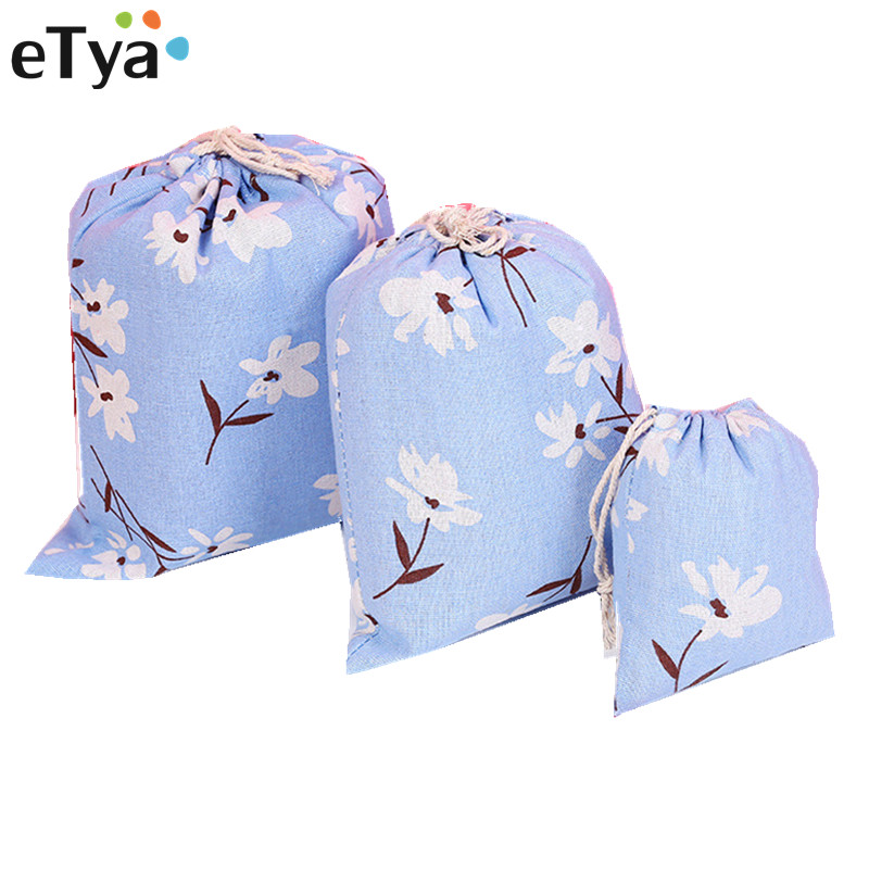 ETya Drawstring Bags Women Men Travel Pouch Clothes Handbag Cotton Girls Shopping Shoes Bags Makeup Bag