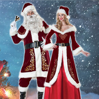 MANLUYUNXIAO A Full Set Of Christmas Costumes Santa Claus For Adults Red Christmas Clothes Santa Claus Costume Luxury Suit