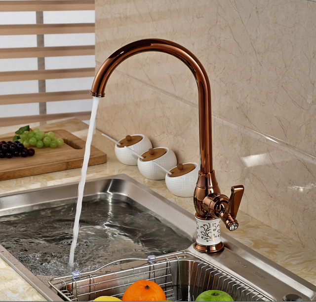 Aliexpress.com : Buy Luxury Rose Golden Kitchen Sink Faucet One ...