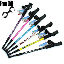 6 color Adjustable AntiShock Trekking Hiking Walking Stick Pole 3-section