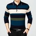 Новый 2016 мужская Марка рубашки Поло с длинным рукавом отложным воротником Высокое качество Бизнес camisa поло шерсть трикотажные мужчины одежда