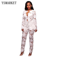 Autumn Winter Sexy Women Two Piece Sets Women Hollow Out White Lace Floral Deep V Neck Long Sleeve Top and Long Pant Suits E8161