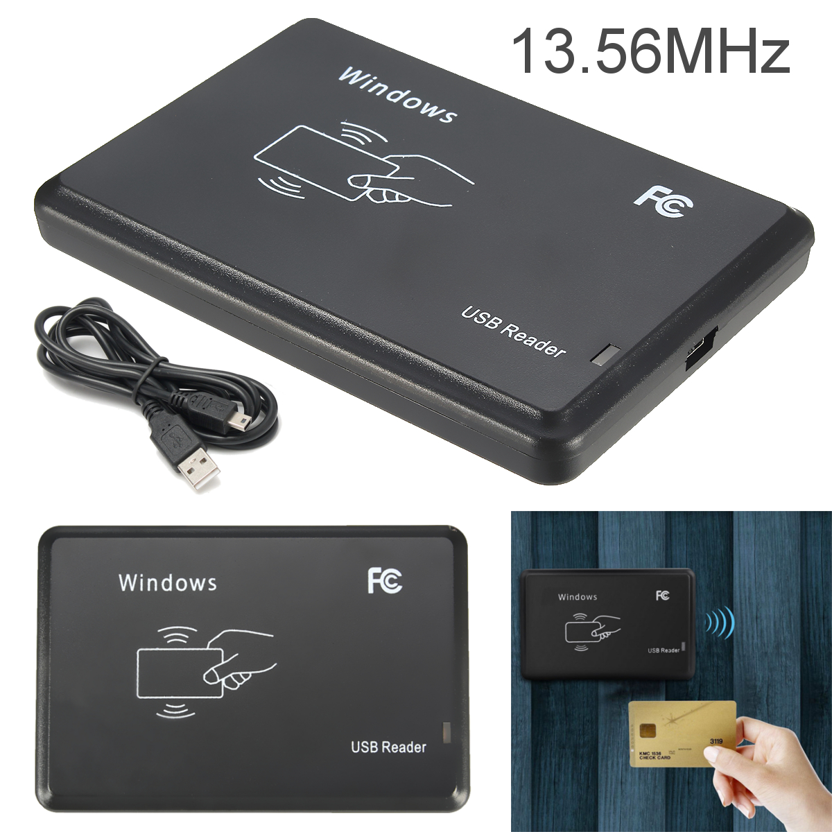 13.56MHZ USB M ifare RFID Contactless Proximity Sensor Smart Cards/ID Card Reader Writer 14443A with USB Cable contactless 14443a ic card reader with usb interface 5pcs cards 5pcs key fob 13 56mhz rfid black color