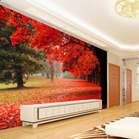 2016 New Modern Custom Home 3D Tree Autumn Leaves Background Wallpaper Bedroom Living Room Decorative Mural Papier Peint #123