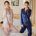 Inverno Primavera Conjuntos de Pijama de Cetim de Seda Do Sexo Feminino Casual Cardigan Mulheres Soild Longo Camisola de Manga Comprida de Pijama Sleepwear Sleepsuit
