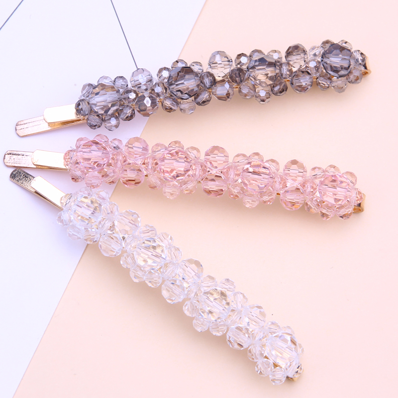korean acrylic hair clip barrettes flower for women accessories rhinestone pins