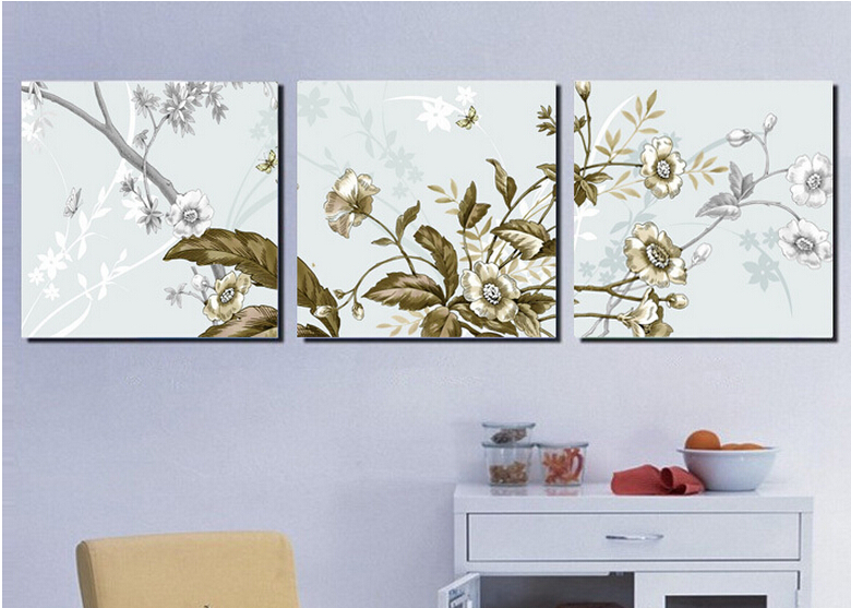 High Quality Living Room Decoration Pictures Printed On Canvas Flowers 3  Piece Canvas Wall Art Set Framed Ready To Hung