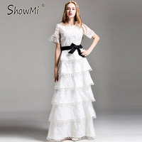 ShowMi Cascading Ruffle Dress Runway New Arrival 2017 High Quality Short Sleeve Organza Embroidery Black White