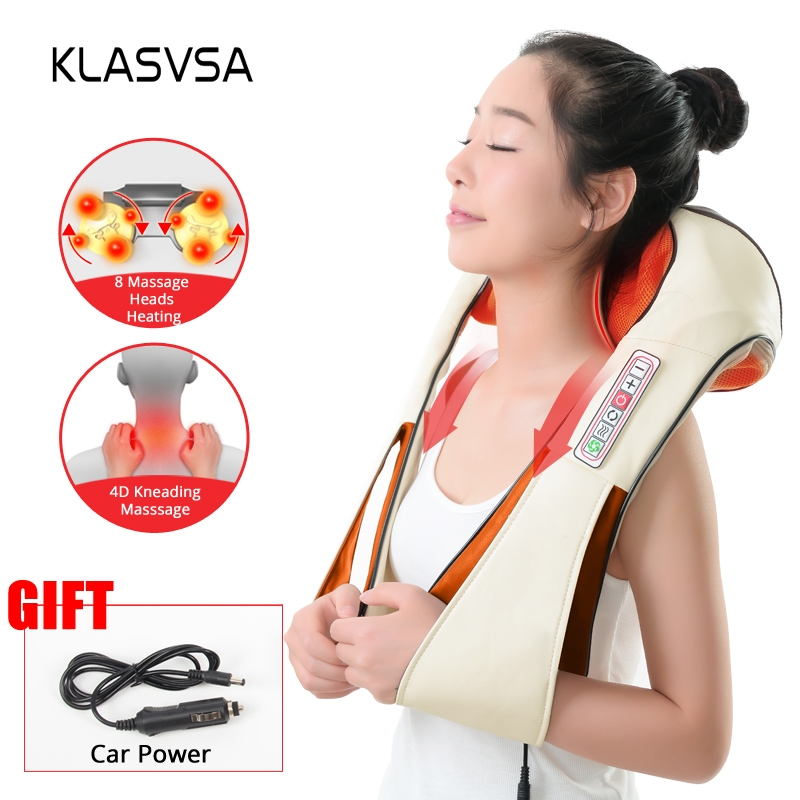 (with Gift Box) KLASVSA Electric Heating Neck Massager Car Home Infrared KneadingTherapy Ache Shoulder Back Massageador Relax