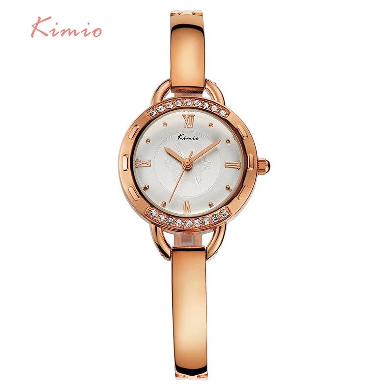 все цены на  Kimio Brand Women Crystal Bracelet Watches Ladies Roman Numeral Stainless Steel Quartz Dress Watch With Box  relogio masculino  в интернете