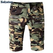 Sokotoo мужская лето камуфляж молнии плиссированные байкер джинсы для moto случайные карманы грузовые брюки длина джинсовой колено шорты