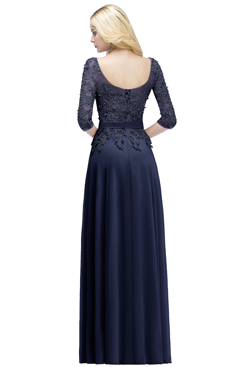 2019 Elegant Prom Dresses with sleeves Navy Blue A Line Party Dresses Vestido De Festa Beading pink Long prom dress Formal Gowns