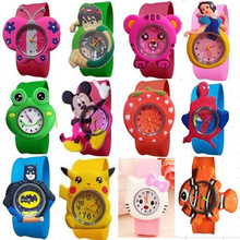 2018 New Fashion mixed style Cartoon Watch Children Silicone Quartz WristWatch Slap Cute Gift hot Sale 1pcs