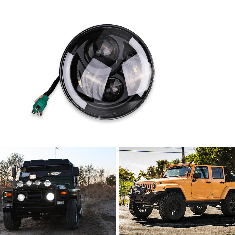 Round Motorcycle Led Headlight 7 Inch Projector Led Headlamp Halo Angel Eye DRL Turn light For Jeep Harley 7 Inch Led Headlight black chrome 7 hid led headlight with halo drl projector daymaker driving headlamp angel eyes for harley davids motorcycle