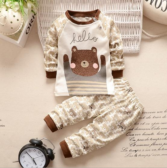 Baby Clothes Cheap | Newborn Baby Clothes Cheap Outfits Kids Bear Characther Clothing Set For Boys Infant Brown Tee Tops + Pants 2 Piece Suit