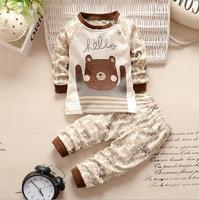 Newborn Baby Clothes Cheap Outfits Kids Bear Characther Clothing Set For Boys Infant Brown Tee Tops + Pants 2 Piece Suit