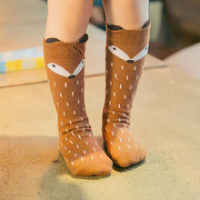 1 пара унисекс милые носки из хлопка с изображением лисы для малышей Носки до колена для девочек и мальчиков детские носки для малышей с изображением животных мягкий хлопковый для младенцев Носки от 0 до 3 лет