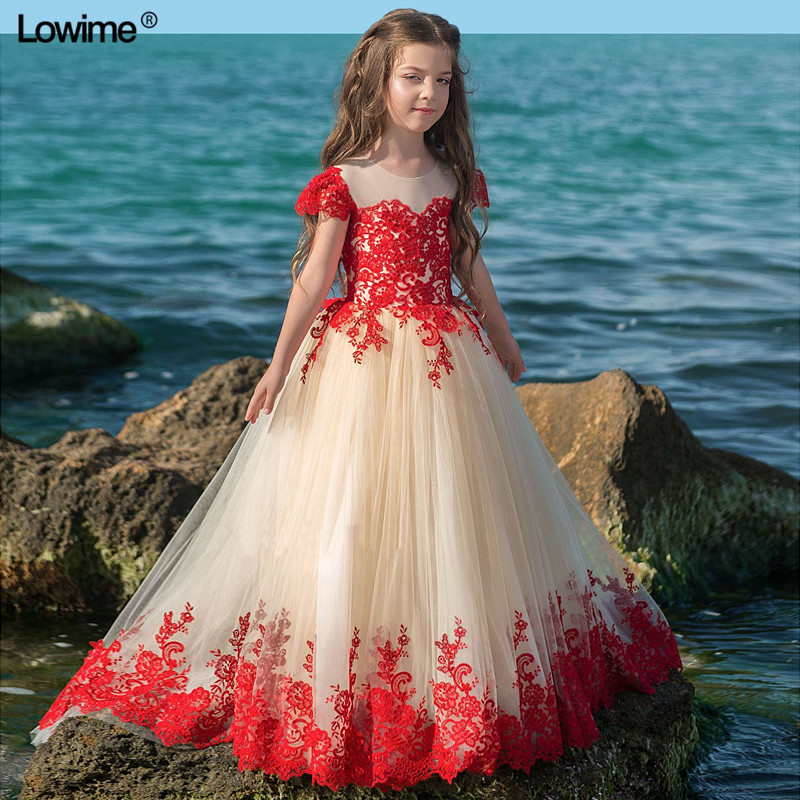 New Arrival A-Line   Flower     Girl     Dresses   For Weddings Cap Sleeve First Communion   Dresses     Girls   Pageant   Dress   2018 With Appliques