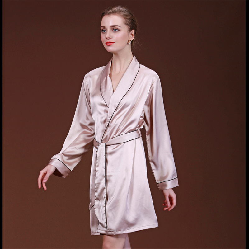 2018 Autumn Women Sexy Faux Silk Satin Robes Hot Sale Kimono Yukata Solid Color Long Sleeve Bathrobe Leisure Home Negligee