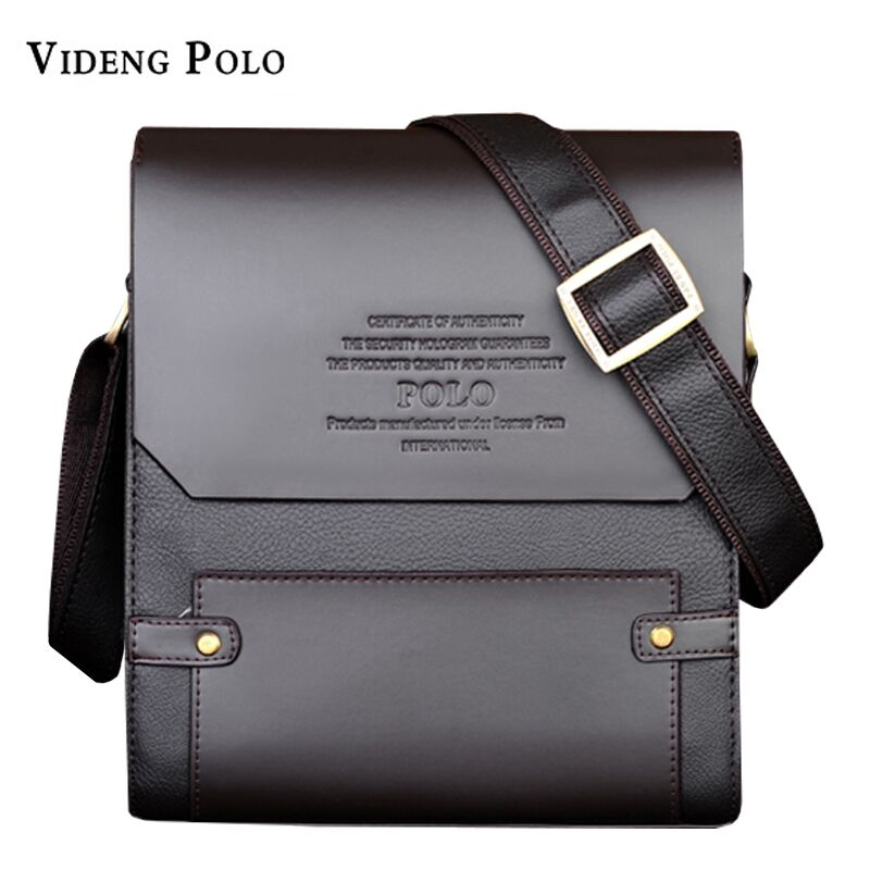 VIDENG POLO Famous Brand Men Leather HandBag Casual Vintage Messenger Bag Classic Business briefcase Man Crossbody Shoulder Bags padieoe men s genuine leather briefcase famous brand business cowhide leather men messenger bag casual handbags shoulder bags