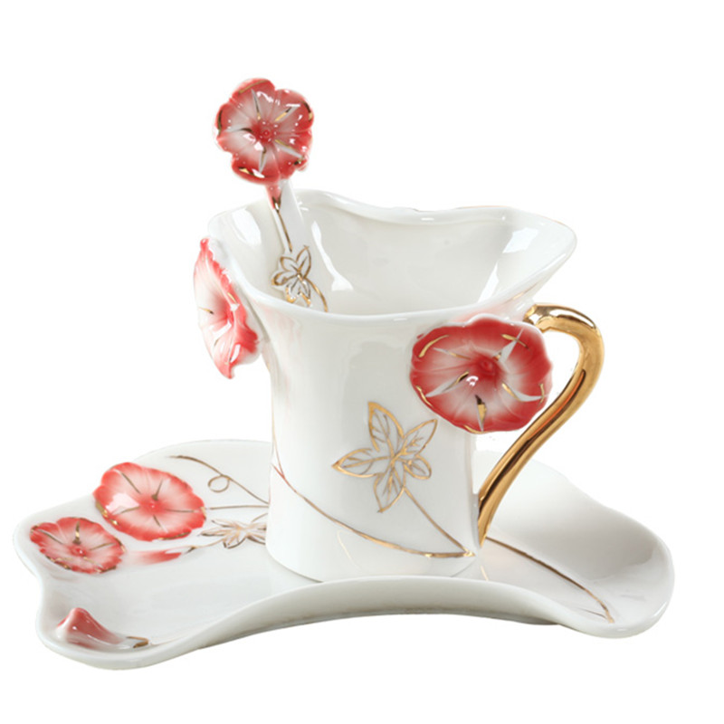 170CC morning glory coffee mugs with tray spoon bone china tea milk cups creative home office drinkware 4 colors taza de m&m