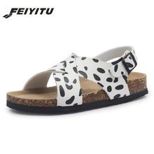 FeiYiTu  New Lady Beach Cork Sandals Flat with Casual Women Summer Buckle Strap Sandalias Shoe Plus Size 35-43