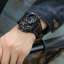 Oulm 캐주얼 정품 가죽 스트랩 시계 남자 럭셔리 2 시간대 쿼츠 시계 대형 다이얼 남성 스포츠 손목 시계