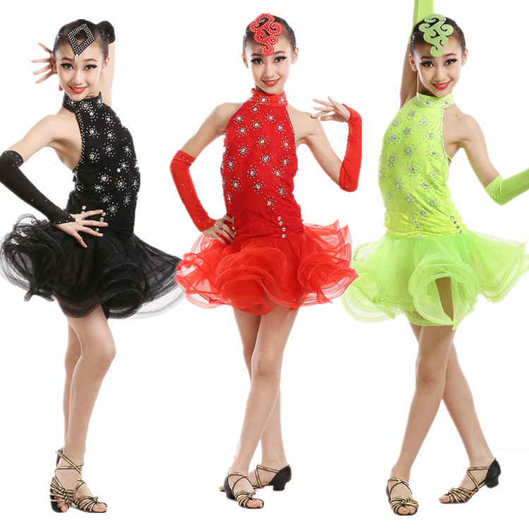 On the new children's Latin dance clothes girls Latin dance skirt children costumes children lace uniforms