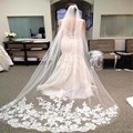 Fashion Long Lace Edge Bridal Veil Wedding Acessories Cathedral Wedding Veil Cheap Free Shipping