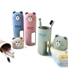 Милый портативный дорожный набор зубных щеток, коробка для хранения стаканов, Домашний Органайзер с медведем, зубная паста, зубная щетка, полотенце для мытья полоскания