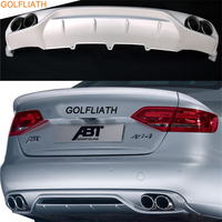 GOLFLIATH PP Unpainted + Steel A4L ABT Style Rear Bumper Lip Diffuser ,Car Exhaust Tips For Audi 2008 2012 A4 B8 Standard