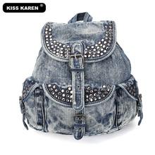 hot deal buy rivet trendy design vintage fashion women backpack bags cotton denim backpacks girl jeans travel bag hiking camping backpacks