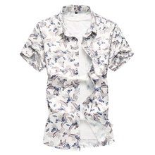 2018 Mens short-sleeved floral shirt large size shirts High Quality Thin lapel Chinese-style casual