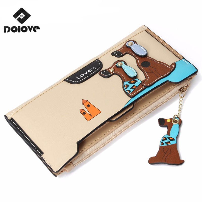 DOLOV New Fashion Cute Puppy Zipper Long Wallet Cartoon Dog 6 Colors Leather Women Wallets Lady Clutches Card Holder Money Bags