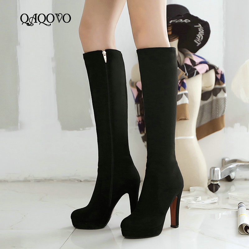 Women Flock Square High Heel Knee High Boots Fashion Platform Zipper Boots Autumn Winter Woman Shoes Brown Wine Red Black Gray