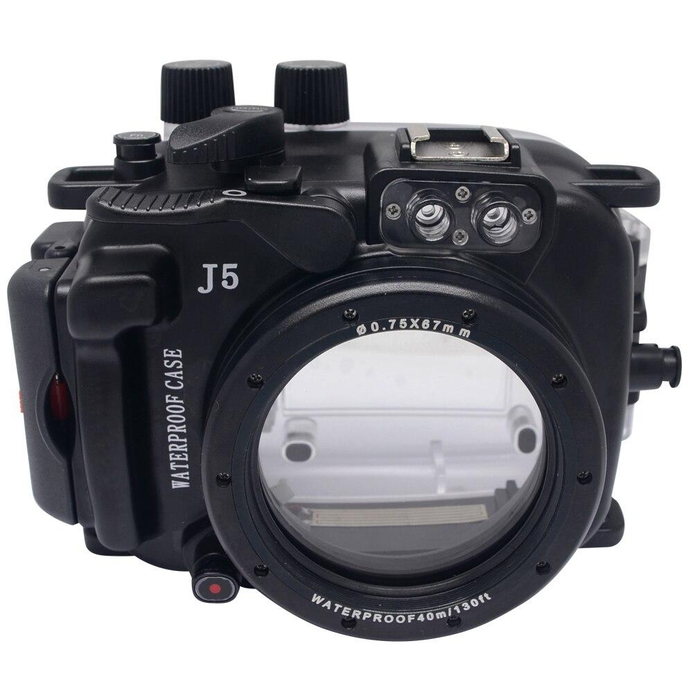 Mcoplus 40M/130ft Camera Underwater Housing Waterproof Shell Case For Nikon J5 10mm Lens